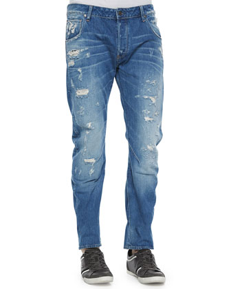Arc 3D Destroyed Slim Denim Jeans, Medium Blue
