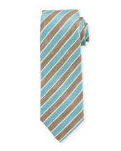 Repp Striped Silk Tie, Brown
