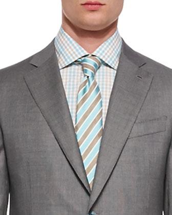 Repp Striped Silk Tie, Brown