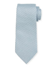 Rep Striped Silk Tie, Aqua
