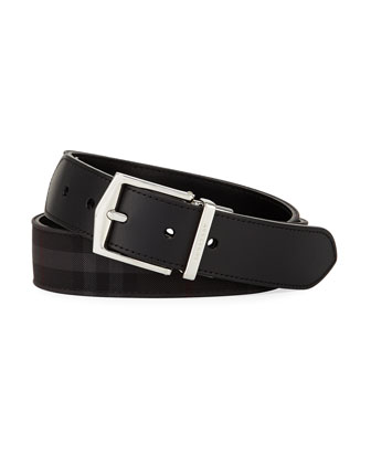 Horseferry Check Belt, Charcoal/Black