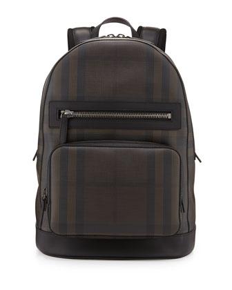 Smoke Check Backpack, Black/Brown