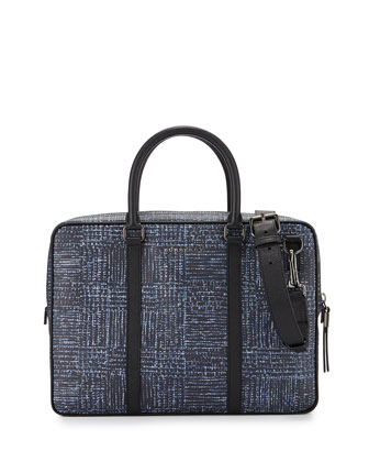 Plaid-Print Leather Briefcase, Blue