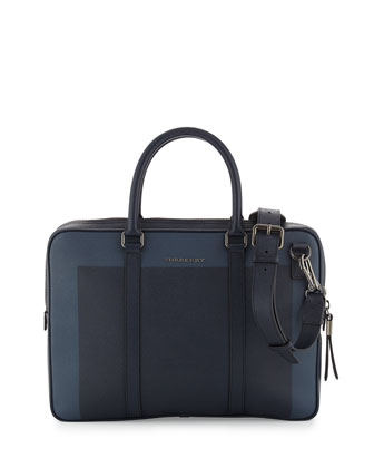 Colorblock Leather Briefcase, Blue