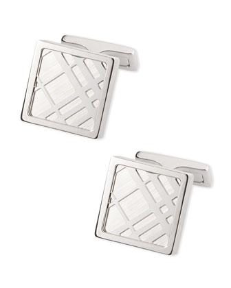 Square Check Cuff Links, Silvertone