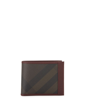 Smoke Check Bifold Wallet, Burgundy