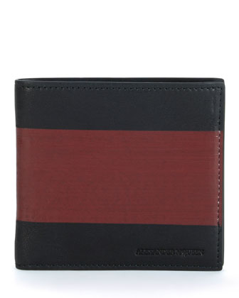 Two-Tone Leather Bi-Fold Wallet, Black/Red