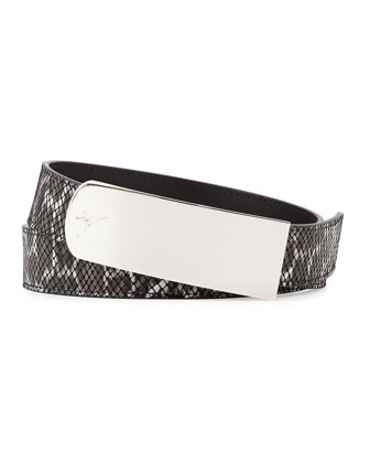 Embossed Leather Belt, Black