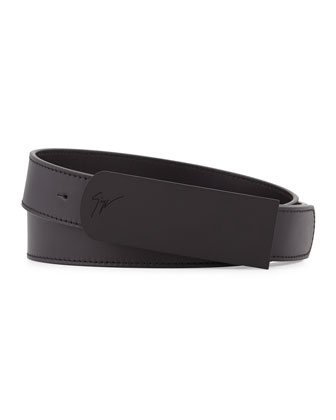 Leather Matte Buckle Belt, Black
