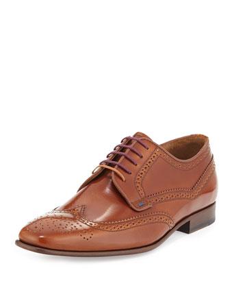Aldrich High Shine Wing-Tip Shoe, Tan