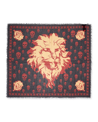 Lion & Skull-Print Modal/Silk Scarf, Black/Red
