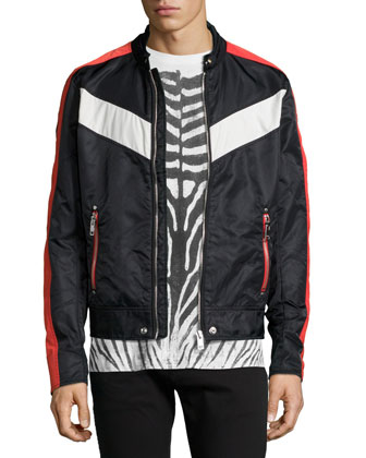 Nylon Striped Moto Jacket, Zebra Water-Print Knit Tee & Garment-Dyed Denim ...