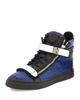Men's Croc-Embossed High-Top Sneaker, Blue/Black