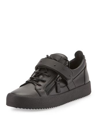 Men's Matte Zip & Buckle Low-Top Sneaker, Black