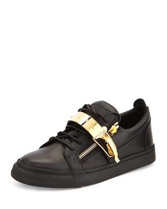 Men's Leather Metal-Strap Low-Top Sneaker, Black