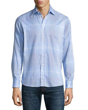Ombre Geo-Print Woven Sport Shirt, Blue