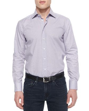 Geo-Print Long-Sleeve Sport Shirt, White/Purple