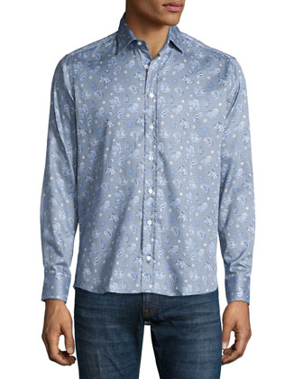 Geometric Paisley-Print Shirt, Blue Multi