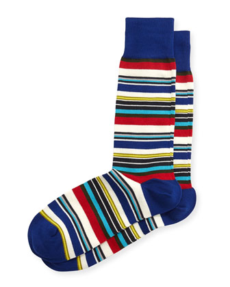 Harbor Stripe Socks, Blue