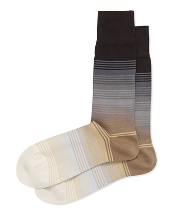 Graduated Stripe Socks, Gray