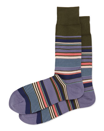 Nautical Stripe Socks, Black