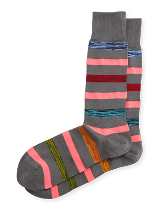 Neon Twist Stripe Socks, Gray