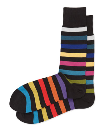 Rainbow Stripe Socks, Black