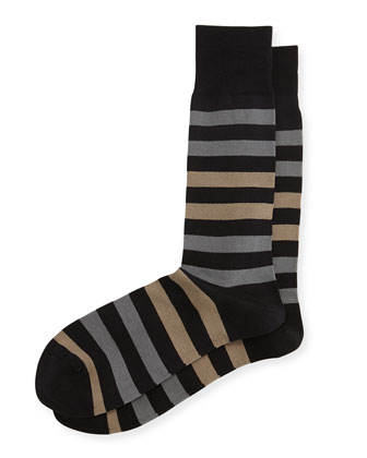 Two-Tone Stripe Socks, Black