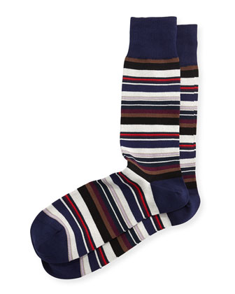 Harbor Stripe Socks, Navy