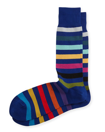 Rainbow Stripe Socks, Navy