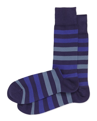 Two-Tone Stripe Socks, Navy