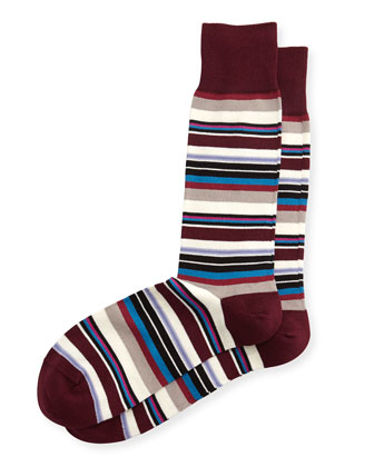 Harbor Stripe Socks, Burgundy