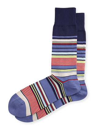 Nautical Stripe Socks, Blue