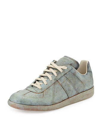 Replica Statue-Treatment Low-Top Leather Sneaker, Green