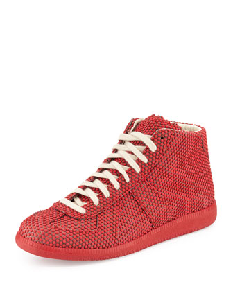 Dotted Replica High-Top Sneaker, Red