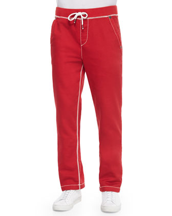 Contrast-Stitch Knit Sweatpants, Red