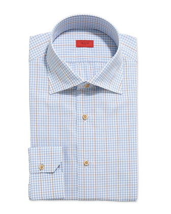 Graph-Check Dress Shirt, Blue/Yellow