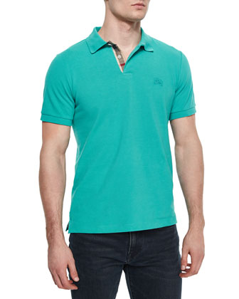 Short-Sleeve Pique Polo Shirt, Green