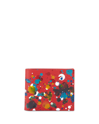 Paint-Splatter Bi-Fold Wallet, Red