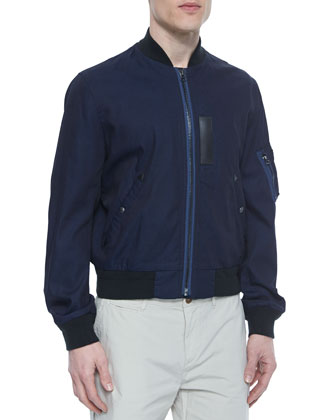 Lightweight Cotton Bomber Jacket, Denim Blue