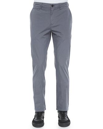 Modern-Fit Cotton Pants, Gray