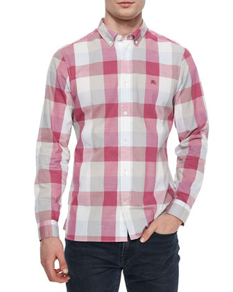 Multi Large-Check Sport Shirt, Fuchsia