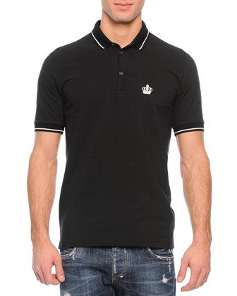 Tipped Polo Shirt & Medium-Wash Distressed Denim Jeans