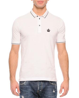 Tipped Polo Shirt, White