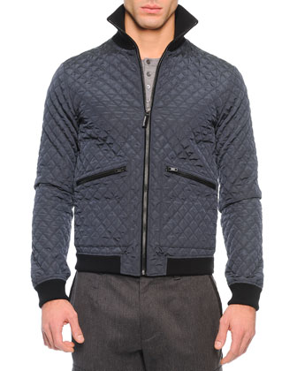 Quilted Zip-Up Nylon Jacket, Blue