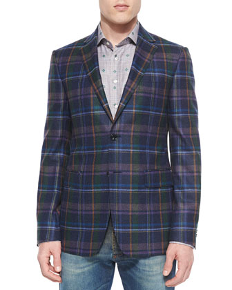 Multi-Plaid Two-Button Blazer, Plaid Sport Shirt with Small Paisley-Print & ...