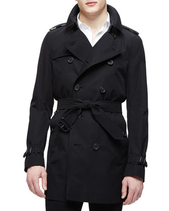 The Kensington - Mid-Length Heritage Trench Coat, Black