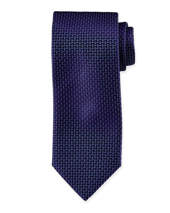 Dotted Stairstep Silk Tie, Prune