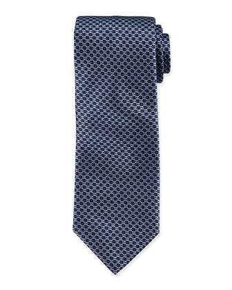 Neat Circle-Patterned Silk Tie, Navy