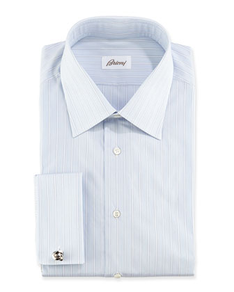 Stripe French Cuff Dress Shirt, Light Blue